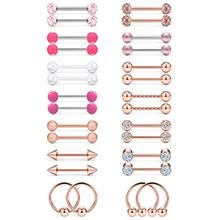 Dyknasz Nipple Shield Ring Straight Barbell 14G Nipple Hoop Bar Ball Body Piercing Jewelry for Women