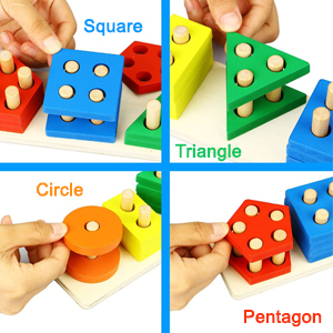 Shape Triangle rectangle Square Circle pentagon hexagon holes attractive stacking balance Round