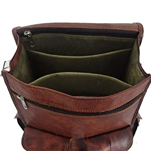 ample storage leather backpack
