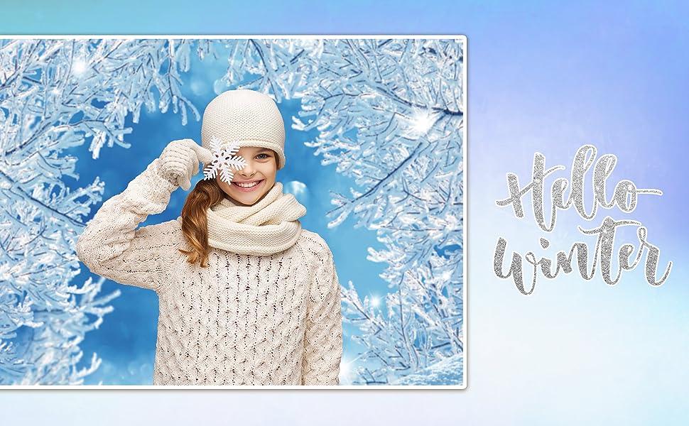 Invernale bianco Albero Fotografico Sfondo Natale Frozen Wonderland