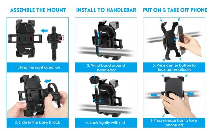Easy to install the motor bike phone holder