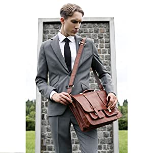 Leather work business a4 portfolio bag leather vintage satchel sack portfolio messenger