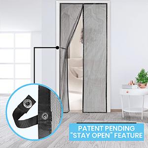 screen door, patent pending stay open feature, fly screen, augo