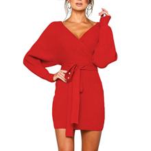 women sweater knit sweater dress open back sweater v neck sweater women long sleeve wrap dress