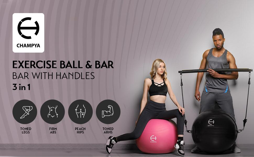 CHAMPYA Exercise Ball with Ball Pump, Pilates Bar