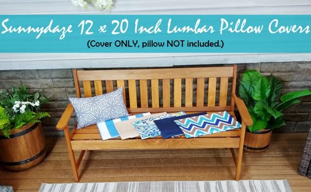 Set of 2 Outdoor Patio Lumbar Pillow Covers