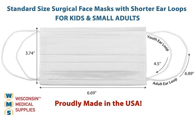 WMS Wisconsin Medical Supplies Small Ear Loop Surgical Face Masks with Dimension Overlay