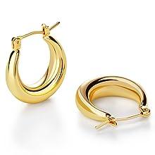 Gold chunky hoop earrings