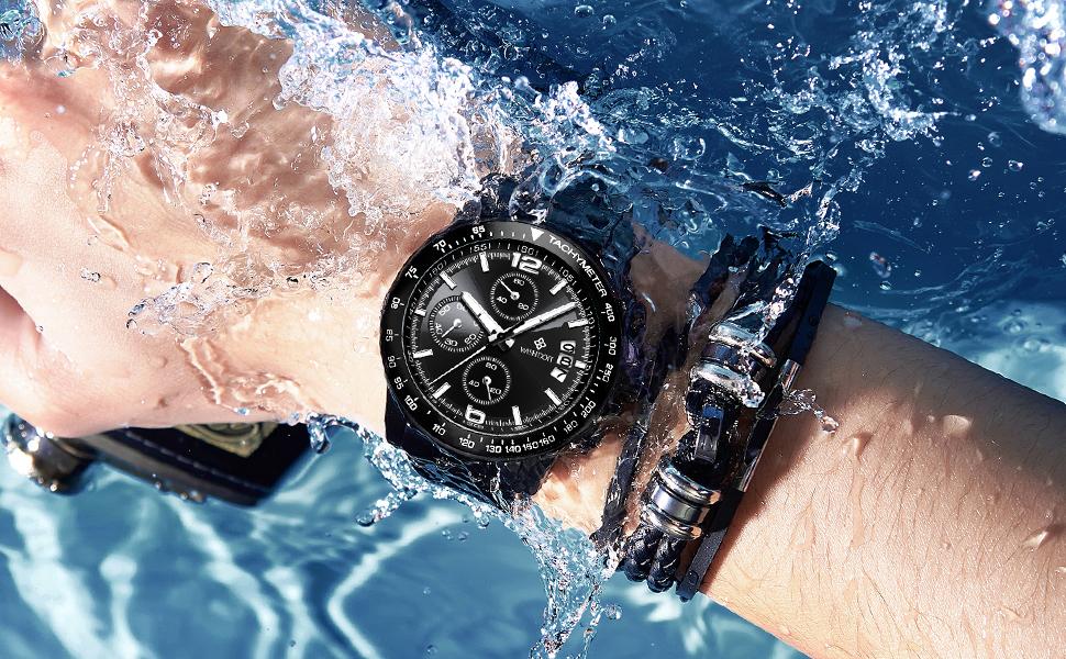 Waterproof chronograph stainless steel men