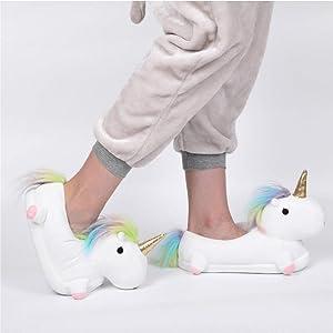KOMTO Cute Cartoon Unicorn Slippers, Fluffy Plush Warm Comfortable Lounge Shoes, Soft Cozy Plush