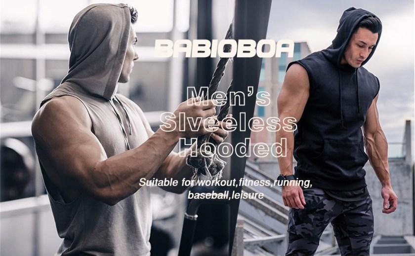 Men's Workout Hooded Tank Tops Sleeveless Gym Hoodies