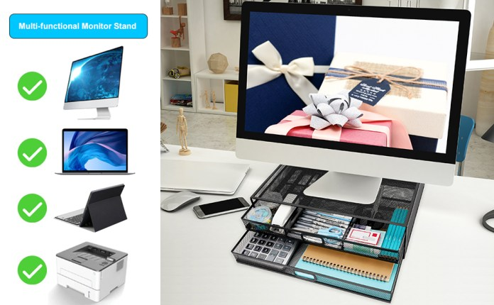 Wellerly Multifunction Monitor Stand Riser with Drawer for Computer, PC, Laptop, Notebook, iMac