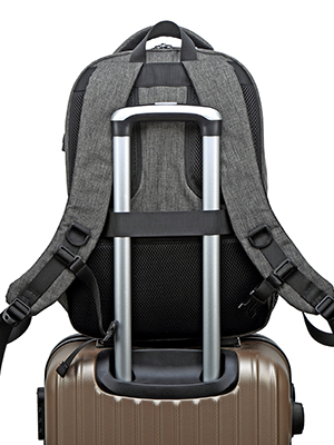 a luggage strap allows backpack fit on luggage/suitcase