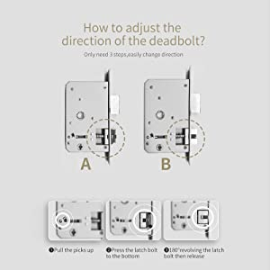 How to adjust the direction ofthe deadbolt?