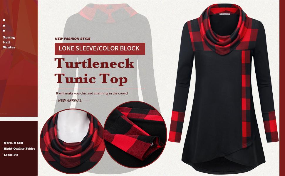 women casual long sleeve tunic top for leggings winter fall color block sweatshirt Fashion pullover