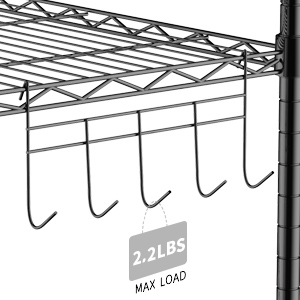 wire metal rack with hooks
