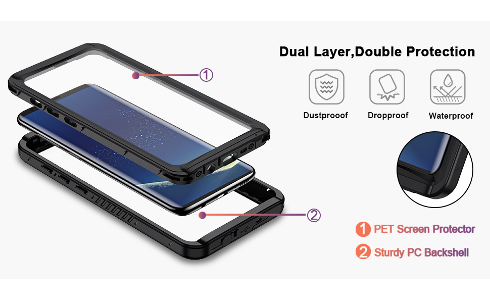 s8 case with screen protector