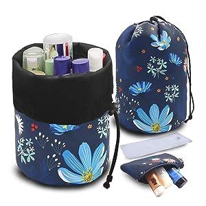 Barrel makeup bag