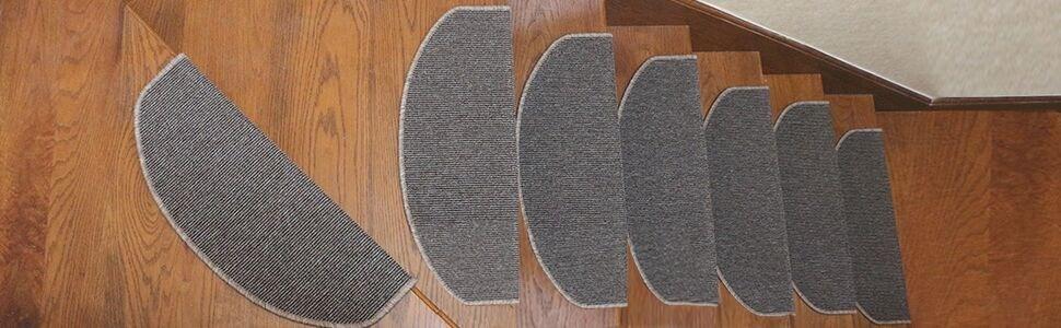 Qingbei Rina Gray Stair Tread Bullnose Carpet Non Slip Indoor | Wedge Shaped Carpet Stair Treads | Beige | Spiral Stairs | Wood | Adhesive Carpet | Flooring