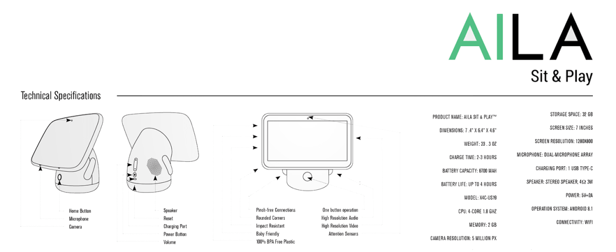 AILA Specs Edutainment Preschool Kids Tablet