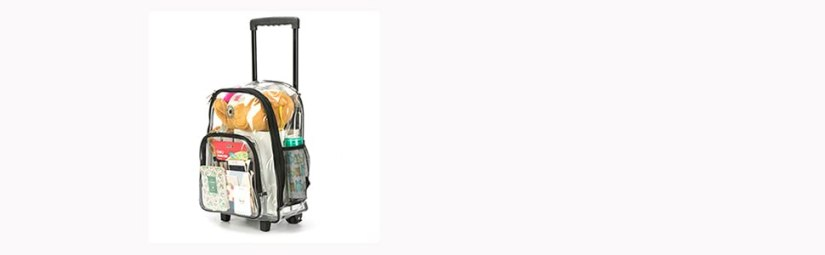 Rolling Clear Backpack Quality See Through Bookbag Wheeled Durable Transparent Workbag With Wheels