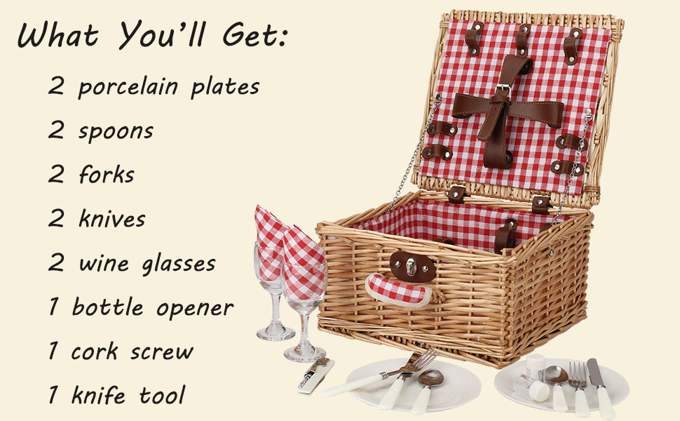 picnic basket set 2 people insulated cooler blanket hamper wine wicker willow large two gift