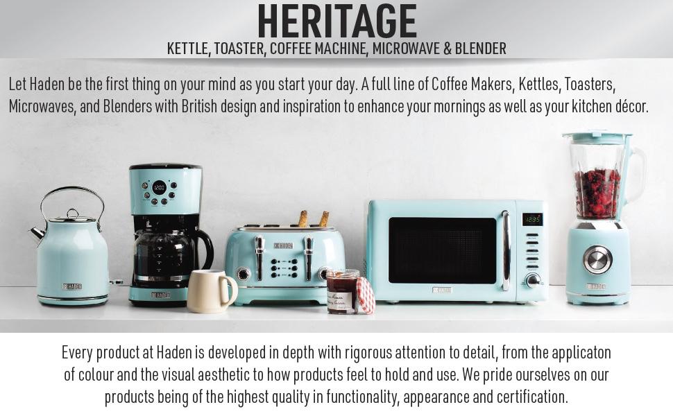 retro microwave, retro electric kettle, retro toaster, retro coffee maker, blue retro appliances