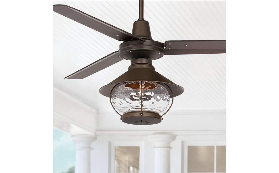 """52"""" Plaza Tropical Lantern Bronze Damp Rated LED Ceiling Fan"""