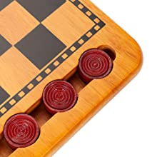 checker pieces are set into the board for storage high quality item red checkers black squares