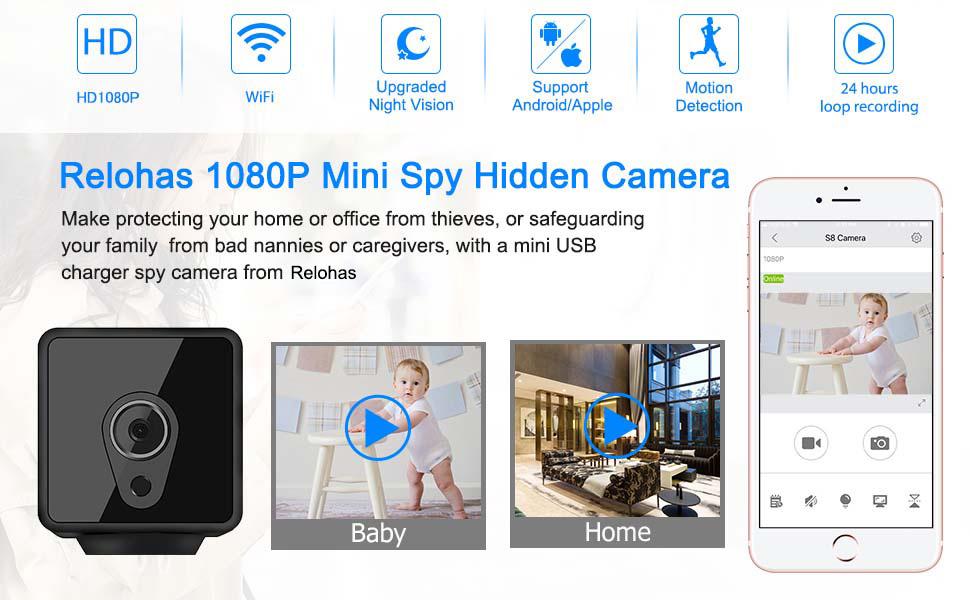 Relohas1080P Mini Spy Hidden Camera