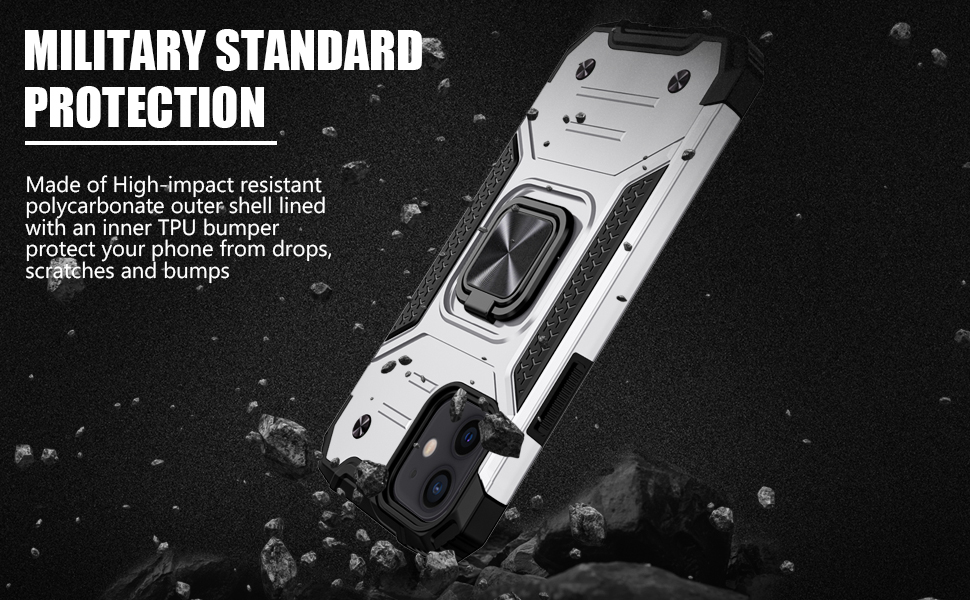 Dual Layer Shockproof Protective Bumper Case with Rotating Holder Kickstand Metal Ring