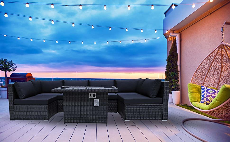 outdoor fire pit patio furniture patio sectional sofa sets rattan with fire pit table fireplace gray