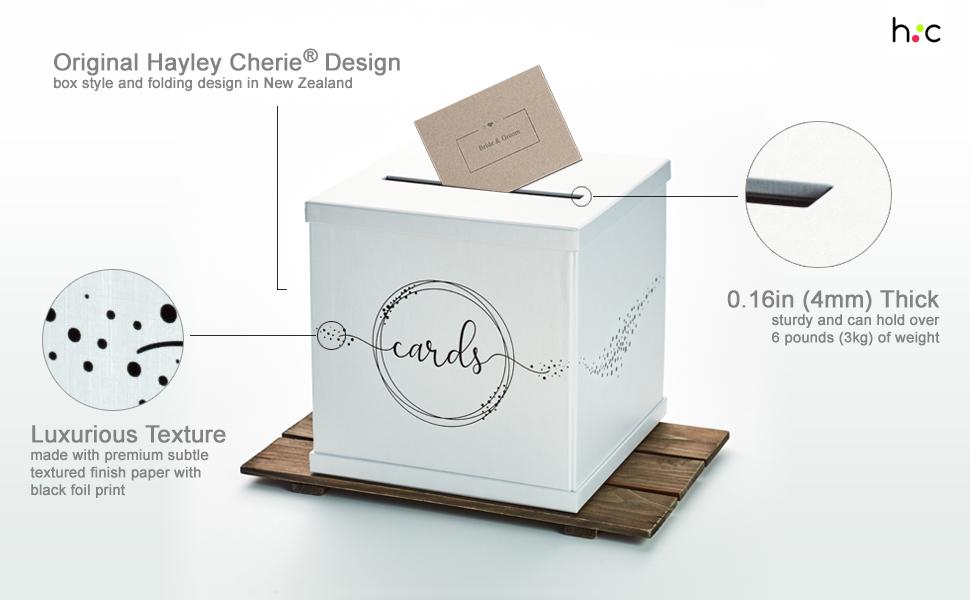 white black foil wedding gift card box