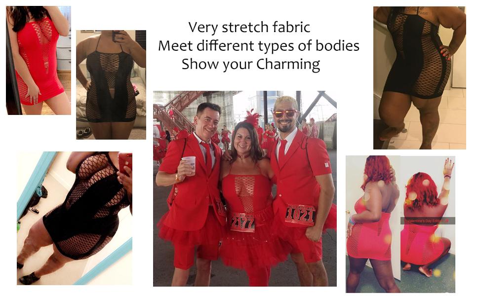 Womens Lingerie Fishnet Seamless Mesh Chemise Babydoll Bodysuit