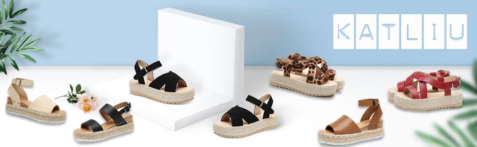 katliu espadrilles compensées femme été sandales talon plateforme Cuir moderne confort