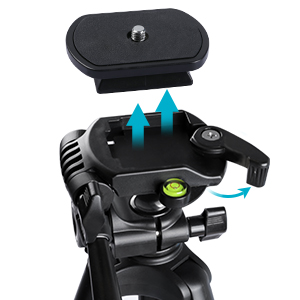 camera tripod with quick-release plat
