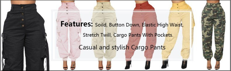 Camo Cargo Pants for Women Elastic High Rise Daily Joggers Long Length with Pockets