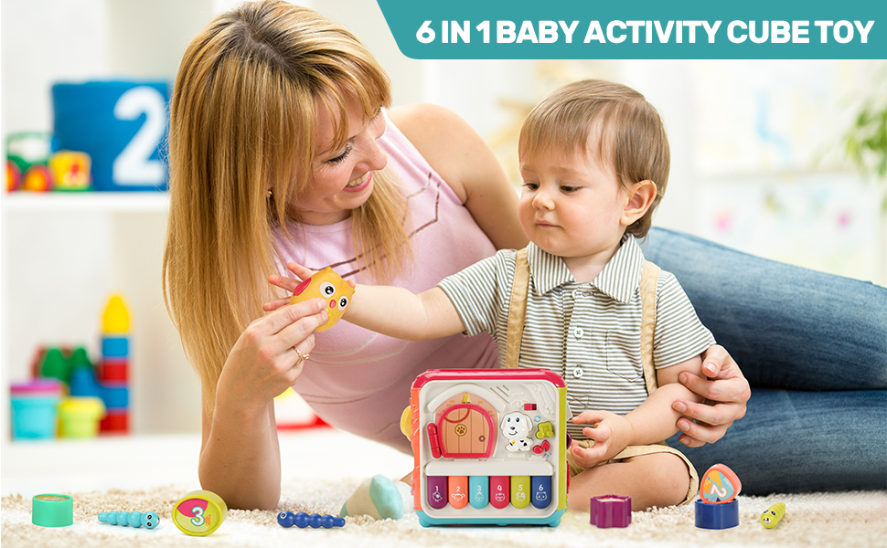 Multi-functional 6 in 1 Baby Activity Cube Toy,Enjoy The Happy Parent-child Time at Home