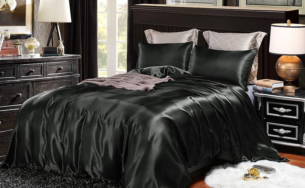 black satin duvet cover set