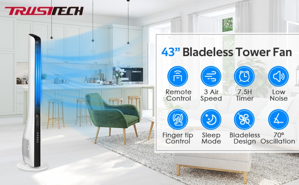 Bladeless Tower Fan w/ Remote Control Quiet Electric Large Range Oscillating Cooling Floor Fan Timer
