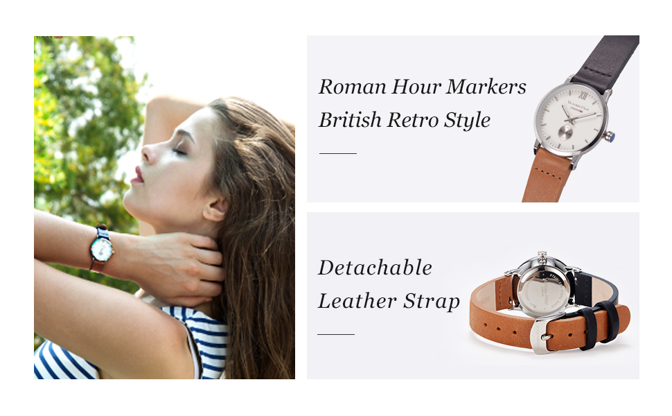 women watches for ladies genuine leather strap brown wristwatches victoria hyde