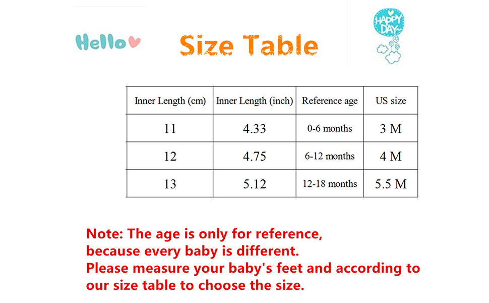 Baby Shoes Size Table