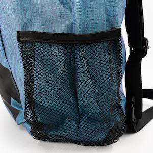 skateboard backpacks water bottle holder black on blue waterproof
