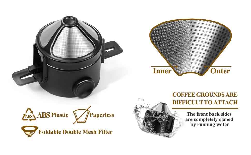Reusable Stainless Steel Paperless Filter/Dripper