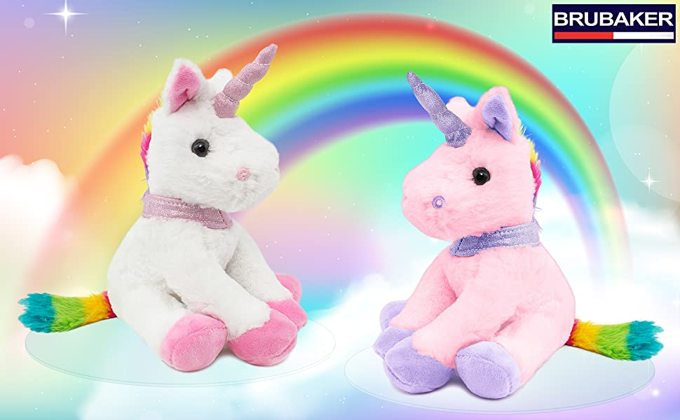 unicorn rainbow cuddly animal toy mythical creature brubaker fairy tale mythical creature cute nice
