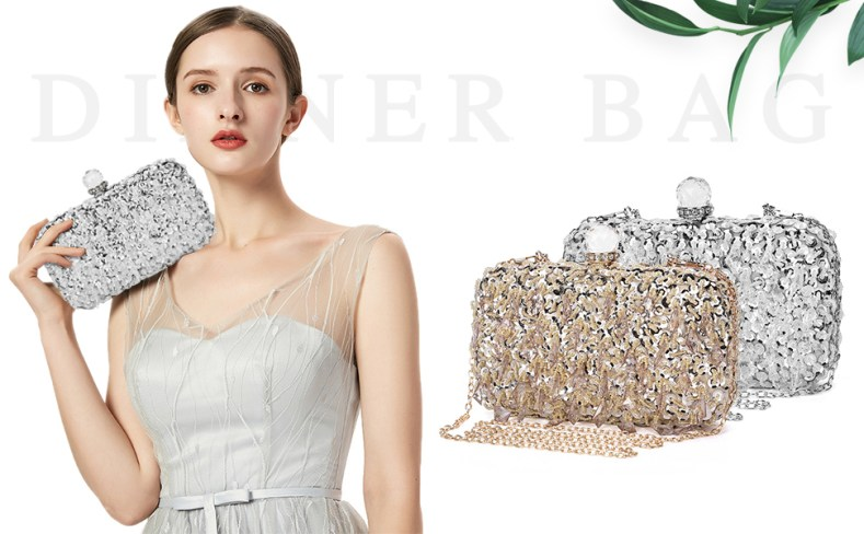 UBORSE Women Wedding Clutch Rhinestone Bling Sequin Evening Bags Vintage Crystal Beaded Cocktail