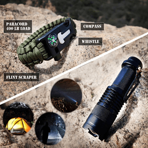 Tactical flashlight and paracord bracelet