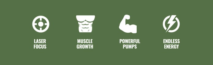Laser Focus, Muscle Growth, Powerful Pumps, Endless Energy