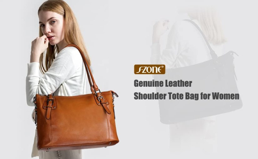 Genuine leather tote & top handle bag for women