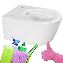 Toilettes sans bord de chasse - Hygiénique - Nettoyage facile.